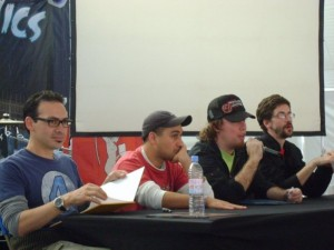 Ramos, Herrera, Olea y Betteo luciendose con sus sketchbooks